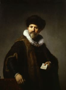 painting of man wearhing hat holidng piece of paper