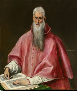 painting of man in red robes with book